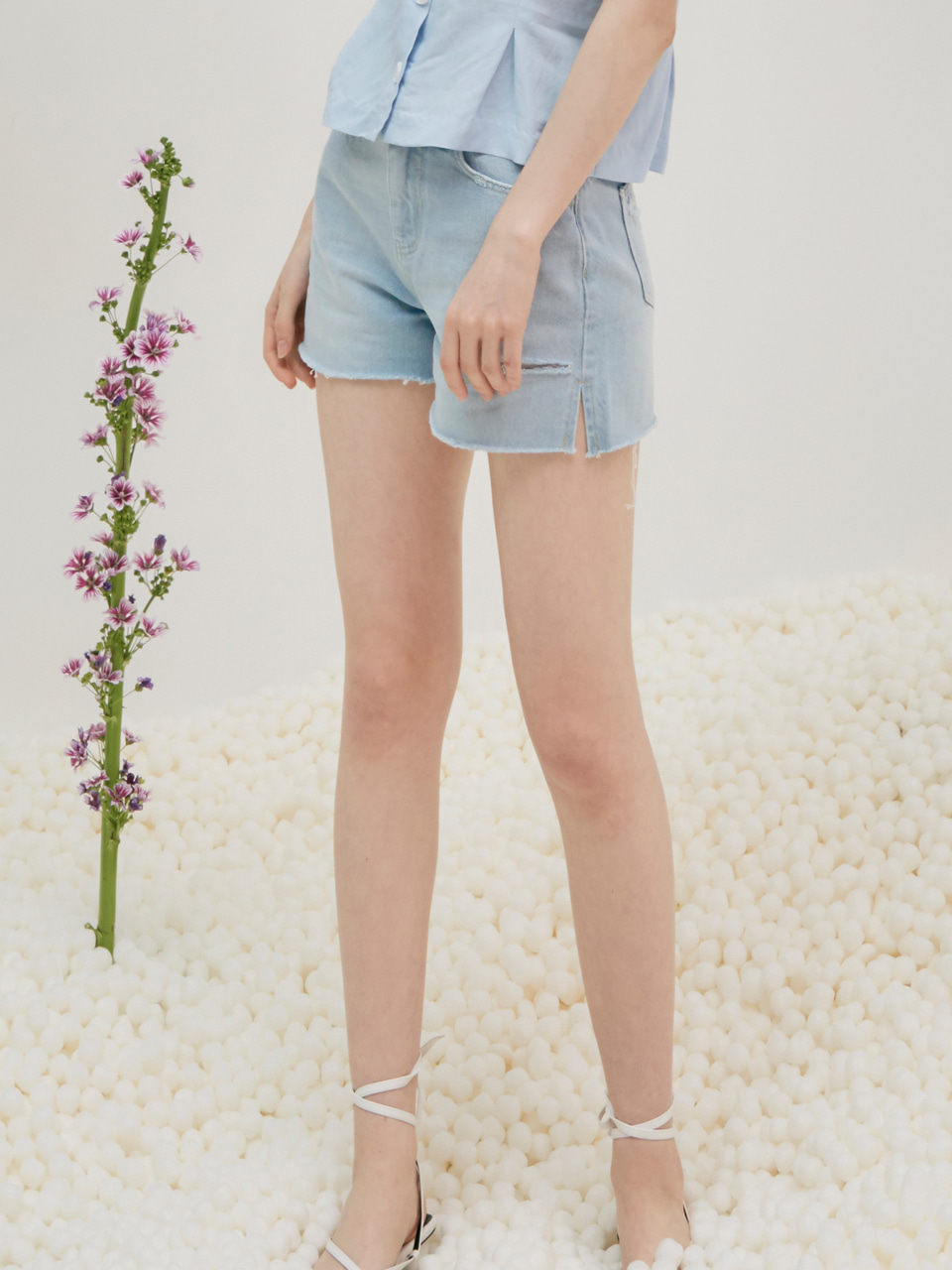 comos'3 soft cutting denim shorts